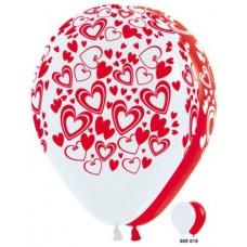 Кокетливые сердечки (Белый, Красный) Пастель, 5 ст.