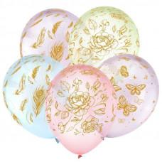 Цветы и бабочки, Золото, Ассорти Кристальные шары 5 ст.