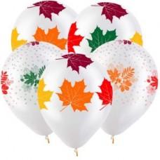 Осенние листья Разноцветные (2 дизайна), Прозрачный Кристал 5 ст