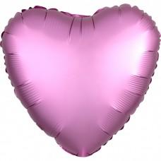 Сердце Розовый Сатин Люкс в упаковке / Satin Luxe Flamingo