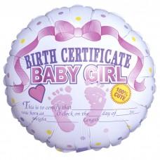 Сертификат о рождении девочки / Girl Certificate