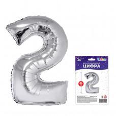 """К """"2"""" Цифра серебро в упаковке / Two"""