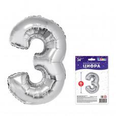 """К """"3"""" Цифра серебро в упаковке / Three"""