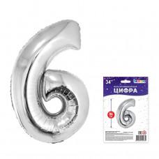 "К ""6"" Цифра серебро в упаковке / Six"