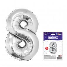 """К """"8"""" Цифра серебро в упаковке / Eight"""