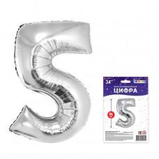 "К ""5"" Цифра серебро в упаковке / Five"