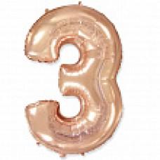 """Цифра """"3"""" розовое золото / Three"""