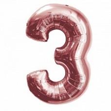 """K """"3"""" Цифра Розовое Золото / Three Pink gold"""