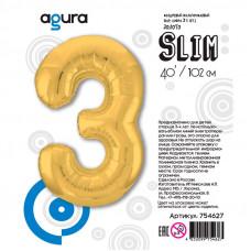"""Цифра """"3"""" Золото Slim в упаковке"""