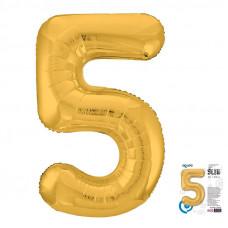 """Цифра """"5"""" Золото Slim в упаковке"""