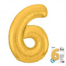 """Цифра """"6"""" Золото Slim в упаковке"""