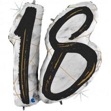 """Цифра """"18"""" Мрамор Чёрный"""
