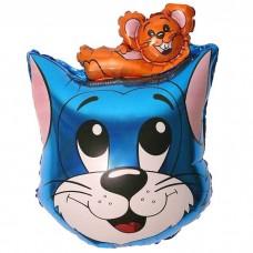 Кот с мышонком (синий) / Cat