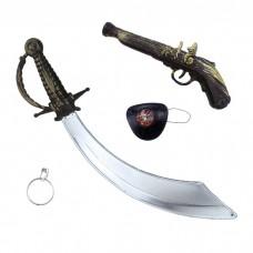 """Игровой набор """"Пират"""" с пистолетом (сабля, пистолет, наглазник, серьга)"""