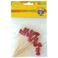 Шпажки для канапе бамбуковые Сердца красные 20шт