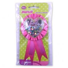 Значок Минни Маус с розовой лентой