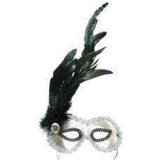 Маска Незнакомка серебряная с перьями