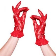 Перчатки кружевные красные