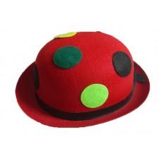 """Шляпа """"Котелок"""" Красная в разноцветный горох"""