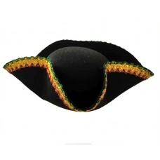 """Шляпа-треуголка """"Пират"""" с цветным кантом"""