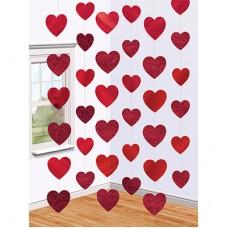 Украшение на дверь Сердца красные 2,1м