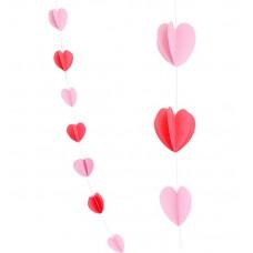 """Гирлянда """"Сердца Микс"""" Красный и нежно-розовый"""